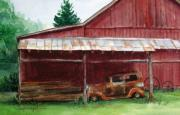 Tennessee Farm Painting Framed Prints - Rusty Ole Car Framed Print by Suzanne Krueger