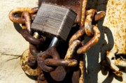 City Scapes Photos - Rusty Padlock - Metal And Rust Series by Mark Weaver