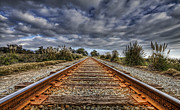Rusty Rail Line And Fog Clouds Print by Lachlan Kay