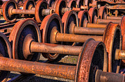 Railway Locomotive Framed Prints - Rusty Railroad Car Wheelsets Framed Print by Clarence Holmes