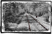 Snow Spring Prints - Rusty Rails Print by Debra and Dave Vanderlaan