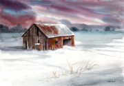 Old Barn Painting Posters - Rusty Roof Winter Barn Poster by Sean Seal