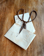Love Letter Posters - Rusty Scissors with Letter  Poster by Jill Battaglia