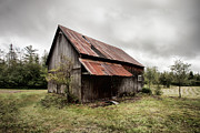 Old Buildings Posters - Rusty Tin Roof Barn Poster by Gary Heller