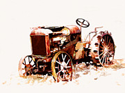 Art By Suni Prints - Rusty Tractor In The Snow Print by Suni Roveto