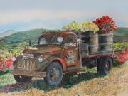 Wine Vineyard Paintings - Rusty Truck with Flowers by Gail Chandler