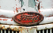 Rusted Cars Photo Acrylic Prints - Rusty Vintage White Ford Sign Acrylic Print by Anahi DeCanio