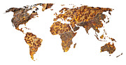 Contour Prints - Rusty World Map Print by Tony Cordoza