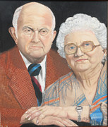 People Pastels Posters - Ruth and Bob Poster by Jim Barber Hove