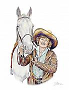 Cowgirls Prints - Ruthie And The Silver Lady Print by Shirley Morris