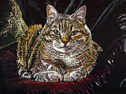 The Tiger Mixed Media Posters - Ruthie the Cat Poster by Robert Goudreau