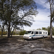 American Culture Posters - RV Parked in a Clearing Poster by Skip Nall