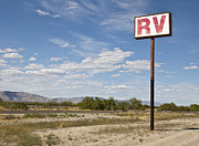 Rv Posters - RV Parking in the Desert Poster by Paul Edmondson
