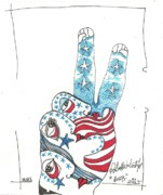 Us Flag Drawings - Rwb by Robert Wolverton Jr