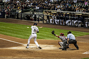Baseball Bat Photo Framed Prints - Ryan Braun  Framed Print by CJ Schmit