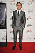 Gray Suit Framed Prints - Ryan Gosling At Arrivals For Afi Fest Framed Print by Everett