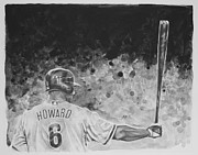 Baseball Portraits Drawings Originals - Ryan Howard by Paul Autodore