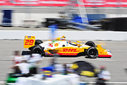 Izod Posters - Ryan Hunter-Reay exiting pit  road Poster by Jarvis Chau