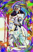 Hockey Painting Prints - Ryan Miller Print by Donald Pavlica