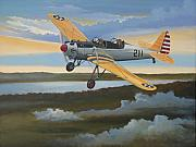Vintage Aircraft Paintings - Ryan PT-22 Recruit by Stuart Swartz