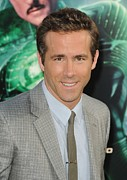 Gray Suit Framed Prints - Ryan Reynolds At Arrivals For Green Framed Print by Everett