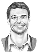 Celebrity Art Drawings - Ryan Seacrest by Murphy Elliott