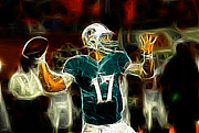 Nfl Prints - Ryan Tannehill - Miami Dolphin Quarterback Print by Paul Ward