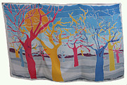 Earth Tapestries - Textiles Prints - RYB Trees Print by Rollin Kocsis