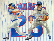Mlb Drawings - Ryne Sandberg by Adam Barone