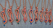 Child Jewelry Originals - S-Curve Swarovski Crystal and Copper Pendant by Heather Jordan