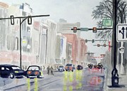 Rainy Day Posters - S. Main Street in Ann Arbor Michigan Poster by Yoshiko Mishina