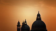 Santa Maria Della Salute Prints - S. Maria On Orange Sky Print by Alfredo Montresor