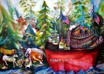 Santa Claus Paintings - S S Santa Ship by Claire Sallenger Martin