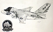 Jet Drawings Originals - S3 Viking by Mark Jennings