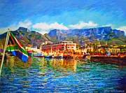 Cape Town Framed Prints - SA Flag at the Waterfront Framed Print by Michael Durst