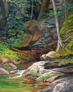 Falls Paintings - Sabbaday Falls Kancamagus Highway by Elaine Farmer