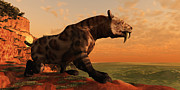 Period Digital Art Posters - Saber-Tooth Cat 01 Poster by Corey Ford