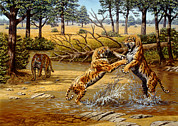 Sabre Prints - Sabre-toothed Cats Fighting Print by Mauricio Anton