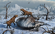 Snow-covered Landscape Digital Art Prints - Sabre-toothed Tigers Battle Print by Mark Stevenson
