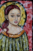 Christian Art . Devotional Art Painting Metal Prints - Sabrina Metal Print by Rain Ririn