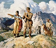 First Paintings - Sacagawea with Lewis and Clark during their expedition of 1804-06 by Newell Convers Wyeth