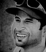 Player Drawings Posters - Sachin Tendulkar Poster by Kanika Chandolia