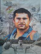 World Series Drawings - Sachin Tendulkar by Sandeep Kumar Sahota
