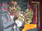 Mardi Gras Paintings - Sachmo at home by Chuck Jensen