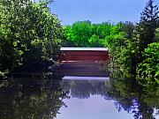 Red Photographs Art - Sachs Covered Bridge in Gettysburg  by Bill Cannon