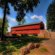 Covered Bridge Acrylic Prints - Sachs Covered Bridge Acrylic Print by Lois Bryan
