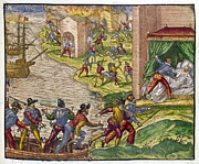 Buccaneer Framed Prints - SACK OF CARTAGENA, c1544 Framed Print by Granger