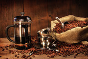Coffee Beans Photos - Sack of coffee beans with french press by Sandra Cunningham