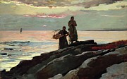Pink Dawn Posters - Saco Bay Poster by Winslow Homer