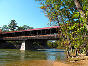 Saco Prints - Saco River and Covered Bridge Print by Barbara McDevitt